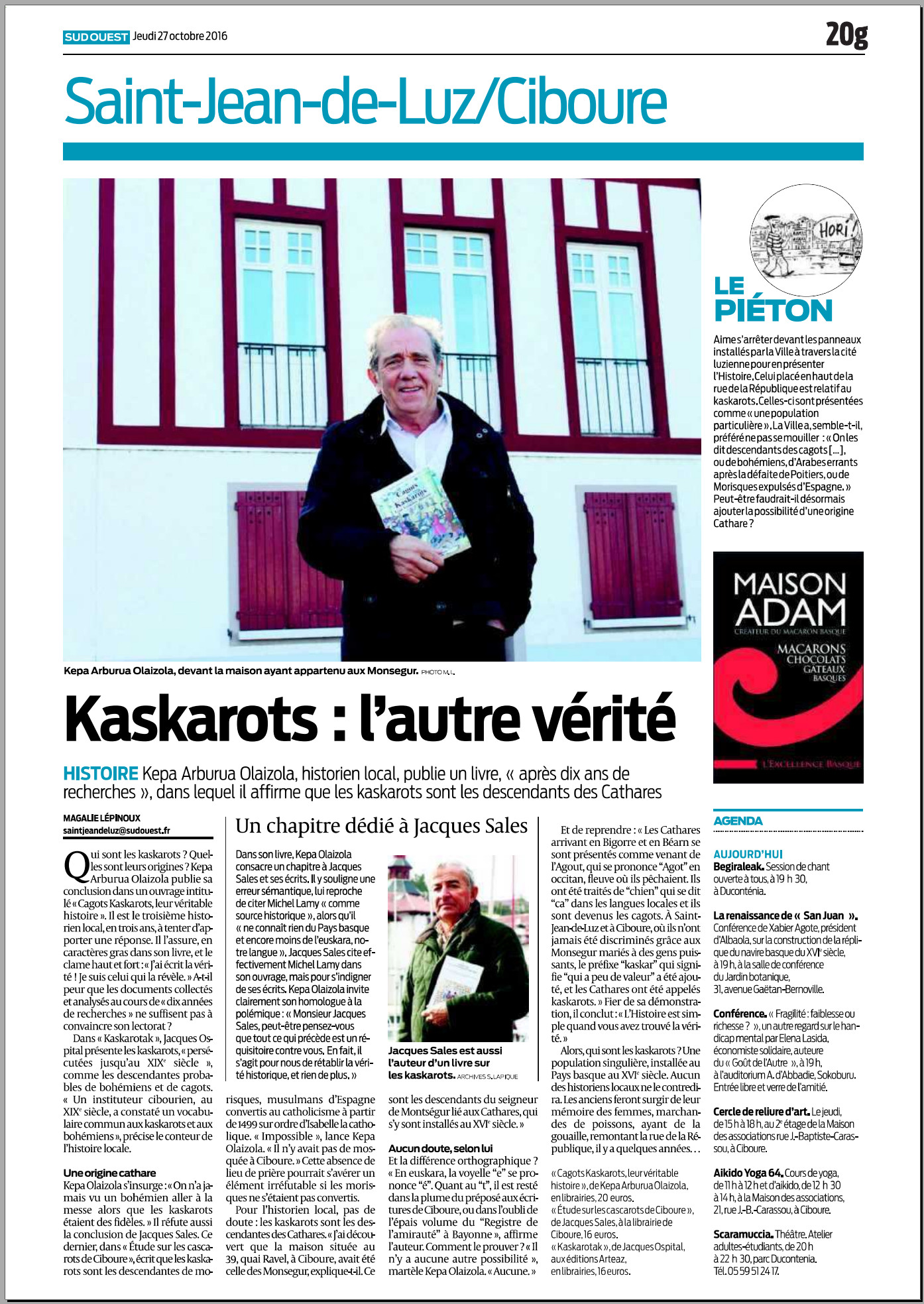 Cagots Kaskarots : leur véritable histoire, Sud Ouest Pays Basque 27 octobre 2016